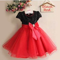 Wholesale Girls Party Dresses Years - Retail Girls Princess Dresses Bow Elegant dress party baby girl Wedding dress Children clothing 2-8 Years 1272