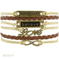 Wholesale Dream Infinity Bracelets - Custom-Infinity Love 2016 Hot sales Exclusive New Design believe dream love Infinity cross bracelet Charm Leather Multilayer Bracelet jewelr