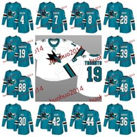Wholesale 48 Sharks Jersey - San Jose Sharks 2017-2018 Season 19 Joe Thornton 8 Joe Pavelski 88 Brent Burns 39 Logan Couture 48 Tomas Hertl Hockey Jerseys