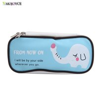 Wholesale Horse Stationery - Wholesale- Cute Horse Pencil Case Kawaii Elephant PU Leather Pen Bag Stationery Cosmetic Bag For Girls Boy Office School Supplies Escolar