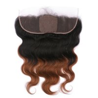 Wholesale ombre silk base closure - Virgin Brazilian Medium Auburn Ombre Human Hair Silk Base 13x4 Lace Frontal Closure Body Wave 1B 30 Two Tone Ombre Silk Top Frontal