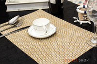 Atacado- Vintage Vintage Place Mat Para Jantar Almoço Bege Color 8 * 8 Wove Bamboo Imitation Table Mat Water Proof Frete Grátis