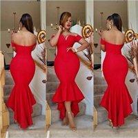 hallo lo plus größe cocktailkleider großhandel-2019 Dubai Red Mermaid Cocktailkleider Sexy Schulterfrei Hallo-Lo Prom Partykleider Günstige Afrikanische Arabische Frauen Plus Size Kleider DTJ