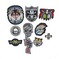 Wholesale New Arrival Punk Skull Application Sew Iron On Patch For Clothing Embroidered Stripes On Clothes Parches For Sticker Clothes