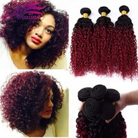 Wholesale Curly Two Tone Hair Extensions - Grade 8A Ombre Malaysian Kinky Curly Hair Virgin Human Extensions Two Tone 1B BG Burgundy Red Remy Hair Wave Weft Bundles