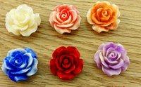 ingrosso braccialetto di resina del fiore di rosa-Perline di gioielli in resina rosa corallo splendido fiore, per bracciale collana colorato - 20mm