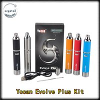 Wholesale Free Electronic Plus - Yocan Evolve Plus Kit 1100mAh Battery with Quartz Dual Coil 5Colors Yocan Plus Top Quality Electronic Cigarette Kis Fast Free Ship 0266119