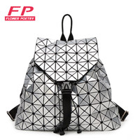 Wholesale Diamond Black String - Wholesale- Fashion Women Drawstring Backpack Diamond Lattice Geometry Quilted Ladies Backpack Sac Bag For Teenage girl Bao Bao School Bags