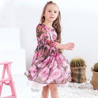 Dress Gowns for sale - W.L.MONSOON Princess Party Dress Girls Summer Dresses 2017 Brand Silk Chiffon Clothes Kids Costumes Rose Flower Dress Children