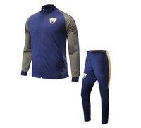 Wholesale High Quality Sweat Suits - 2017 New Arrival U.N.A.M. blue Soccer jacket Sets Men Sports Set High Quality Soccer Jackets Soccer Pants Best Sweat Suits