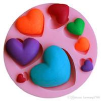 molde del corazón 3d al por mayor-3D DIY Corazón Fondant Molde de Silicona Decoración de Pasteles Craft Sugar Chocolate Mould ZH01050