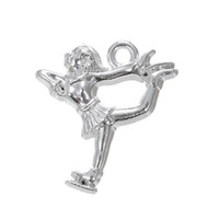 Wholesale Girls Figure Skating - Hot Fashion Design Silver Plated Beautiful Girl Figure Skating Charm Jewelry