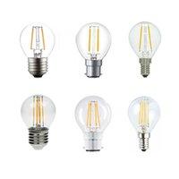 Wholesale 6w Cob Dimmable - LED Bulb,E14 E27 B22 Ses Candelabra Base 2 4 6W G45 Dimmable COB LED Filament Flame Tip Vintage Globe Bulb