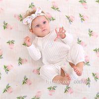 Wholesale Blue Bunny Ears - Newborn Baby Swaddling Blankets + Bunny Ear Headbands Set Baby Floral Swaddle 100% Cotton Towel Wrap Hairbands Bird Fruit Print BHB13