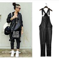 kentsel hip hop atkısı toptan satış-Yeni Varış Moda Adam Kadın Erkek Hiphop Hip Hop Swag Siyah Deri Tulum Pantolon Jogger Kentsel Giysiler Giyim Justin Bieber