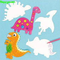 Happyxua20pcs / pack Weiß Papierform Färben Dinosaurier kinder DIY Malerei Cartoon Tiere Kindergarten Handarbeit Handwerk Materialien