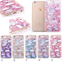 Wholesale Iphone Love Flower Case - Liquid Unicorn Horse Flower TPU PC Hard Case For iphone 6 6S Plus 7 I7 Bling Glitter Quicksand Skin Star Love Cover