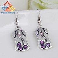 Wholesale Oil Flower Earring - New Retro Lady Earrings 100% Green Zinc Alloy Material Purple Drop Oil 1pair   lot Heavy Drop Shipping
