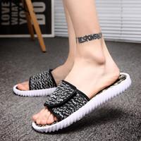 Wholesale Dot Flip Flop - Outdoor New Mens Women 350 Loafers Slippers Soft Bottom Fashion Casual Kanye West Boost Shoe 350 Sandals flip flops 36-45