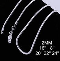 colliers de serpent en argent sterling de 2 mm achat en gros de-Mode 925 Sterling Silver Snake Chain Colliers Charme Thin Cable Large 2MM Chaîne Fit Pendentif Bijoux