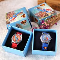 Wholesale Superman Quartz Watches - Free Shipping 12 Pcs Cartoon Super hero Superman Kids Girls Boys Children Students Quartz Wrist Watch Very Popular have gift box