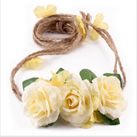 Wholesale princess mount for sale - Group buy New Design Baby Rose Flower Garlands Adjusted Headbands Floral Wedding Bride Headdress Princess Children Beach Hair Accessories
