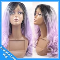 Wholesale Light Purple Wigs - New Cospaly Ombre black to Light purple Body Wave Wavy Cheap Synthetic Lace Front Wig Glueless Heat Resistant wigs for black women