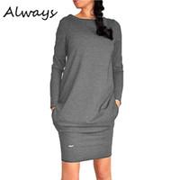Wholesale Jumper Dresses Women - Wholesale- Hot Women Solid Short Mini Dress Long Sleeve Warm Sweater Dress Jumper Pullover Dress 3 Colors