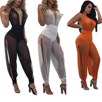 Wholesale Womens Sexy See Through Jumpsuits - 2017 Summer Sexy Beach Party Wear Lace Up Halter Mesh Rompers Womens Deep V Neck Backless Side Split See Through Overalls Playsuit Jumpsuit
