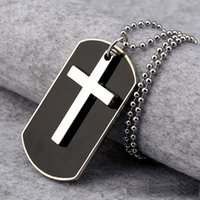 Wholesale Circle Necklace Mens - Free Shipping Gift Unisex Mens Alloy Dog Tag Cross Pendant Necklace Chain New Fashion Jewelry Wholesale