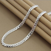 Wholesale Extravagant Gifts - white gold plated 925 silver trendy fashion high quality classic perfect Extravagant men 5MM flat sideways necklace jewelry holiday gifts