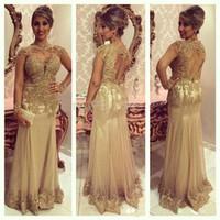altın elbiseler anne gelin elbiseleri toptan satış-2018 Sparkly Örgün Uzun anne Gelin Elbiseler Altın Dantel Aplikler Boncuklu Uzun Kollu Kırmızı Halı Ünlü Abiye giyim Custom Made