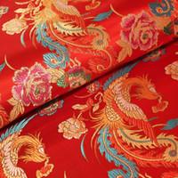 Wholesale Cheongsam Phoenix - 6m lot width 75cm Brocade Three Phoenix Robes Embroidered Cheongsam Costume Fabric Cloth High-grade Silk chinese cloth
