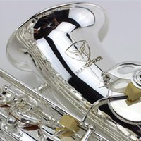 Wholesale Silver Alto Sax - wholesale MARGEWATE Brand Silver Alto Saxophone Silvering Brass Instruments Professional Eb Alto Sax Mouthpiece with gloves,reeds,case
