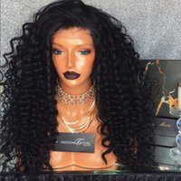 Wholesale Long Curly Heavy Wig - Most Heavy density 300% deep curly brazilian glueless lace front wigs with baby hair brazilian brazilian human hair wig bleached kont