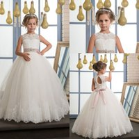 Wholesale Metallic Tulle - 2017 New Flower Girls Pageant Dresses Ivory Lace Up Sleeveless O-Neck Ball Gown Holy Communion Dresses Hot Vestidos De Comunion