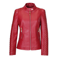 Wholesale Ladies Leather Jacket Large - Women Faux Leather Jacket 2017 New Spring Plus Large Size 4XL 5XL Women Motor Jackets Slim PU Leather Lady Motorcycle Jackets Coats