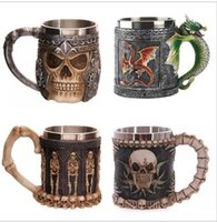 other cartoon vikings - 3D Striking Skull Warrior Tankard Viking Skull Beer Mug D Skull Dragon Coffee Tea Bottle Mug Stainless Steel Cup design KKA1779