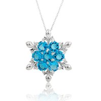Wholesale frozen jewelry online - 6 colors Mixed order Crystal Snowflake Pendant Necklace Stering Silver Pendant Necklace Frozen Style Snow Women Birthday Gift Jewelry