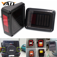 Wholesale Led Jeep Tail Lights - 2pcs LED Tail Light For Jeep Brake Reverse Turn Signal Lamp Back Up Rear Parking Stop Light DRL Light 12V For Jeep Wrangler JK