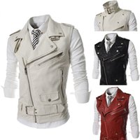 Wholesale Leather Jacket For Large Men - Wholesale- 2014 New Brand Spring Large Lapel PU Leather Zipper Front Fly Mens Suits Vest Casual Waistcoat Fashion Jacket for Men M-XXL