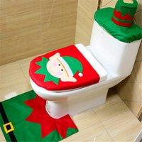 Wholesale track tracking number online - Christmas Decoration Christmas Elves Toilet Seat Cover Rug Bathroom Set Christmas Decorations Tracking Number