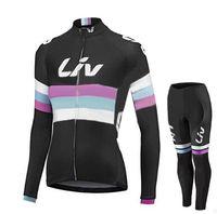 ingrosso donne invernali di abbigliamento da bici-2 Styles Liv Team Maglie ciclismo da donna Set / Abbigliamento invernale da donna in pile termica Abbigliamento bici Abbigliamento bici + pantaloni.