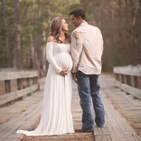 Wholesale Dressing Up Clothes - Free Size White Maternity Lace Dress Gauze Photography Props Pregnant Women Long Dress Elegant Pregnancy Clothes Purple Red Pink