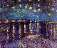 yıldızlı gece tuvali toptan satış-Çerçeveli Van Gogh STARRY GECE RHONE ÜZERINDE, saf Handpainted Sanat Yağlıboya Kaliteli Tuval Duvar Dekor Çok Boyutları Ücretsiz Kargo Vg014