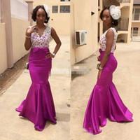 Wholesale Grils Jacket - Fuchsia Grils Evening Dresses African Guest Formal Evening Dresses Purple Mermaid Satin Lace Top Sleeveless 2017 Women Custom Made