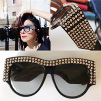 Wholesale Pilots Sunglasses - Limited edition sunglasses 0144 sparkling diamond design frame popular protection sunglasses top fashion summer style for women