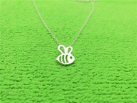 Wholesale Insects Gold Pendant Necklaces - 5PCS Tiny Honey Bee Necklace Bumble Bee Necklace Queen Bee Necklaces Cute Insect Necklaces Bumblebee Beehive Necklaces