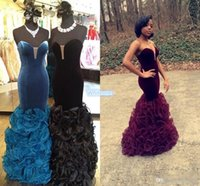 Wholesale Vintage Little Girl Photo - Black Girls Prom Dresses 2016 Sexy Velvet Ruffles Organza Sweetheart Backless Floor Length Cheap Special Occasion Gowns Evening Formal Dress