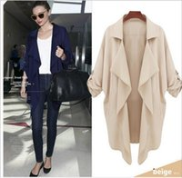 Wholesale Long Half Trench Coat - Women's Casual Fashion Half Sleeves Lapel Waterfall Trench Coat Loose Pockets Thin Long Cardigan Outerwear Plus Size S-4XL
